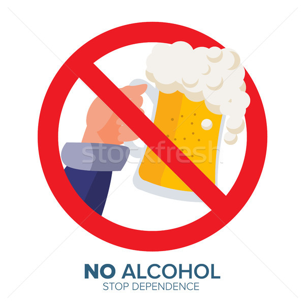 Stock photo: No Alcohol Symbol Vector. Ban Liquor Label. Isolated Flat Cartoon Illustration