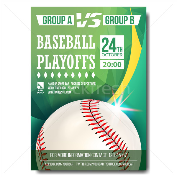 Baseball Poster Vector. Design For Sport Bar Promotion. Baseball Ball. Modern Tournament. Game Illus Stock photo © pikepicture