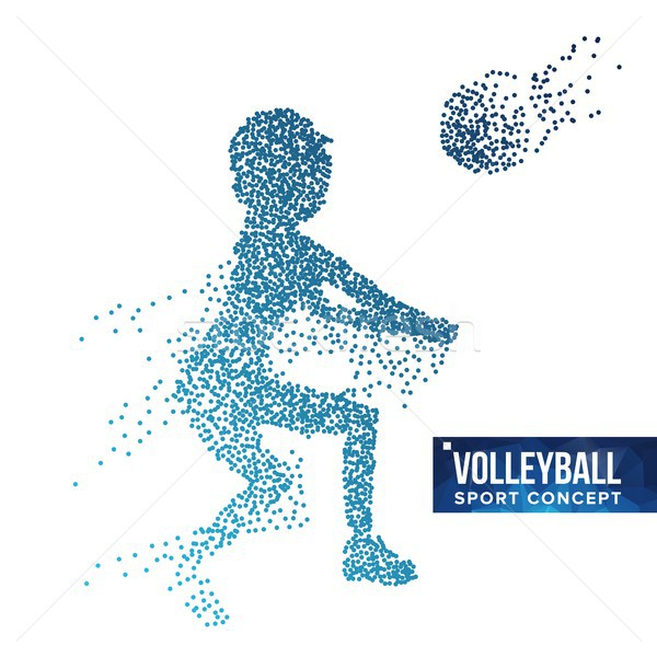 Volleyball Player Silhouette Vector. Grunge Halftone Dots. Dynamic Volleyball Athlete In Action. Dot Stock photo © pikepicture