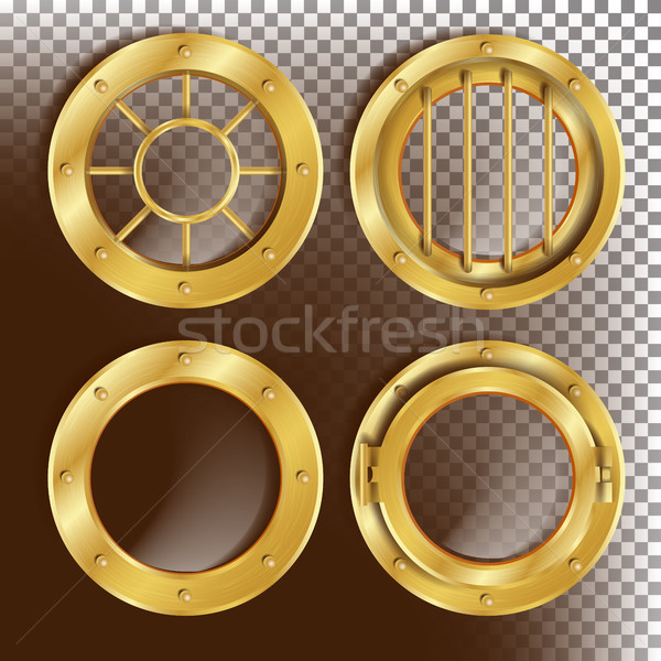 Golden Porthole Vector. Metal Window With Rivets. Bathyscaphe Ship Frame Design Element, Rocket. For Stock photo © pikepicture