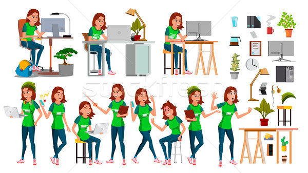 Young Business Woman Set Character Vector. In Action. IT Startup Business Company. Environment Proce Stock photo © pikepicture