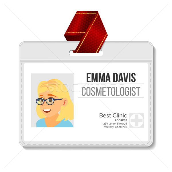 Cosmetologist Identification Badge Vector. Woman. Name Tag Template. Health. Doctor. Medical Special Stock photo © pikepicture