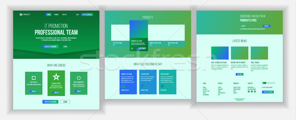 Main Web Page Design Vector. Website Business Screen. Landing Template. Innovation Idea. Engineer De Stock photo © pikepicture