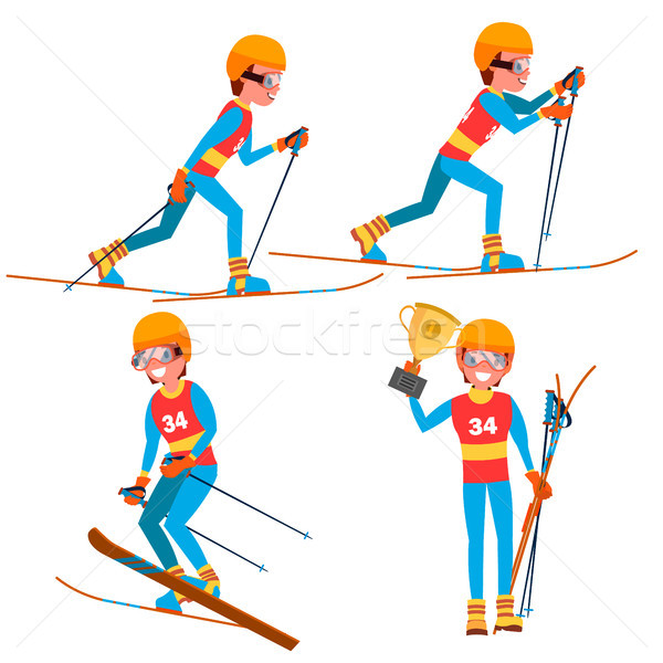 Skiing Young Man Player Vector. Man. Ski Resort. Skiing In The Mountains. Flat Athlete Cartoon Illus Stock photo © pikepicture