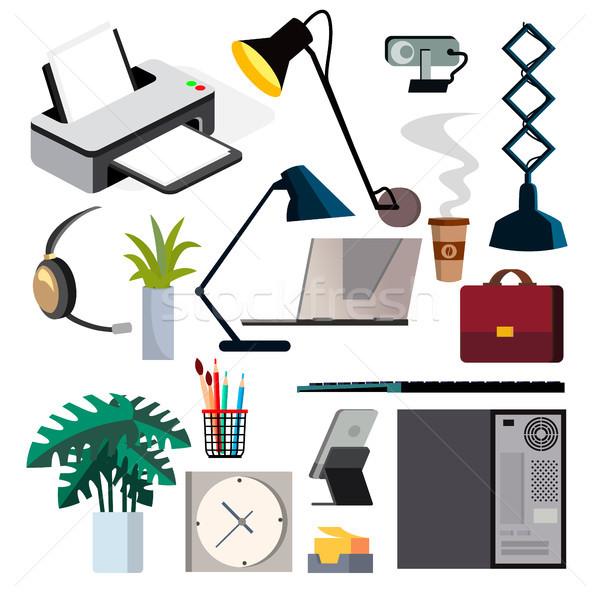 Equipamentos de escritório conjunto vetor pc impressora Foto stock © pikepicture