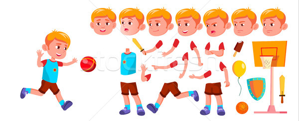 Boy Kindergarten Kid Vector. Animation Creation Set. Face Emotions, Gestures. Emotional Character Pl Stock photo © pikepicture