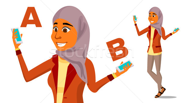 Arab Woman Comparing A With B Vector. Good Idea. Carrying A Balance. Blogger Review. Compare And Cho Stock photo © pikepicture