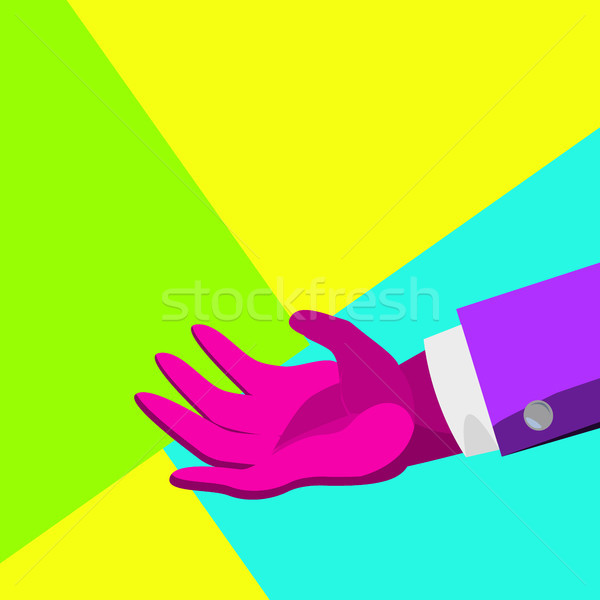 Minimal Surreal Hand Vector. Creative Surrealism People. Poster Concept. Trendy Summer Colors. Minim Stock photo © pikepicture