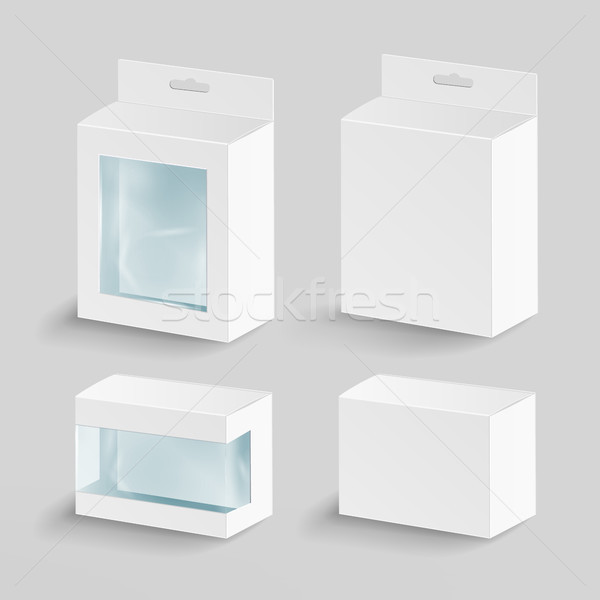 White Blank Cardboard Rectangle Vector. Empty Boxes Packaging For Products With Plastic Window. Mock Stock photo © pikepicture