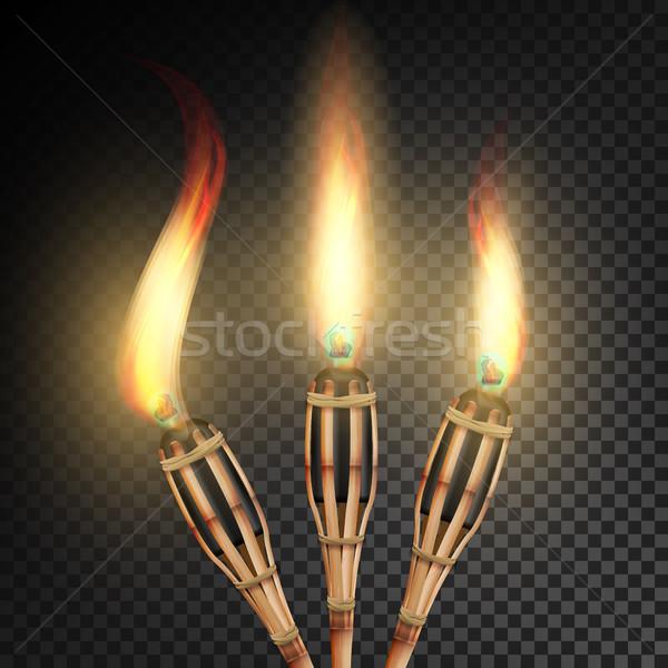 Brûlant plage bambou lampe de poche sombre transparent Photo stock © pikepicture