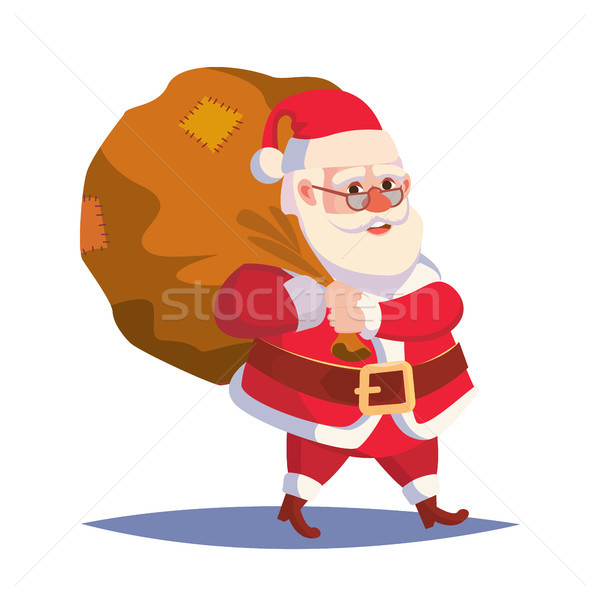 Santa Claus Carrying Big Sack With Gifts Vector. Classic Santa In Red Suit. Good For Flyer, Card, Po Stock photo © pikepicture