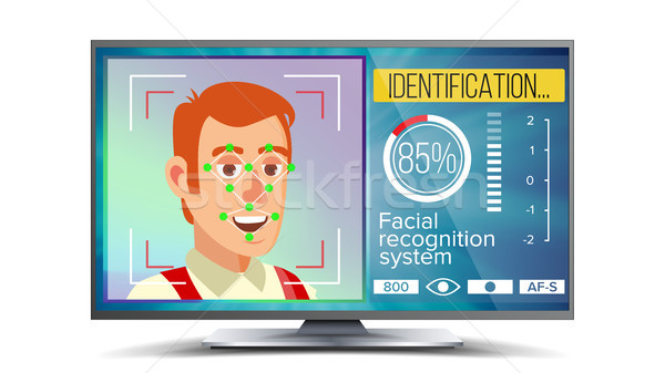 Face Recognition And Identification Vector. Face Recognition Technology. Face On Screen. Human Face  Stock photo © pikepicture