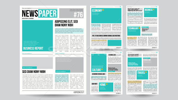Newspaper Template Vector. Financial Articles, Business Information. Opening Editable Headlines Text Stock photo © pikepicture