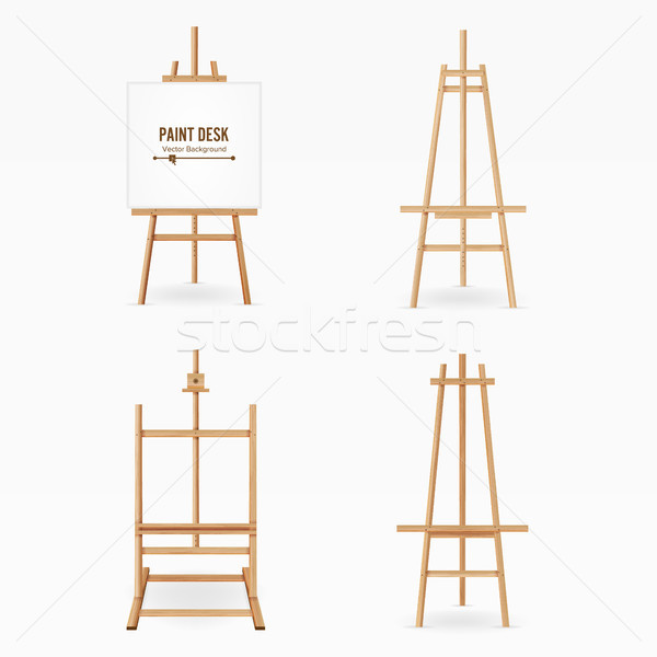 Paint Desk Vector. Wooden Easel Template With White Paper. Isolated On White Background. Realistic P Stock photo © pikepicture