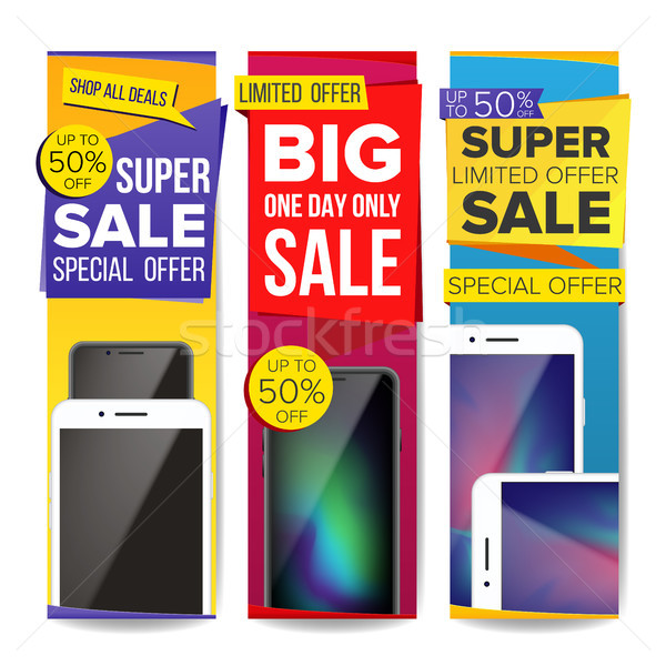 Sale Banner Set Vector. Place For Your Product. Smartphone. Discount Banners. Up To 50 Percent Off.  Stock photo © pikepicture
