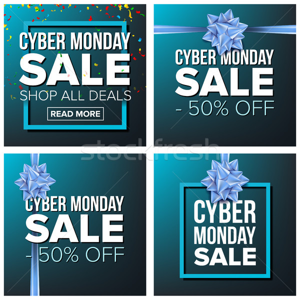 Cyber Monday Sale Banner Set Vector. Cartoon Business Brochure Illustration. November Mega Sale Desi Stock photo © pikepicture