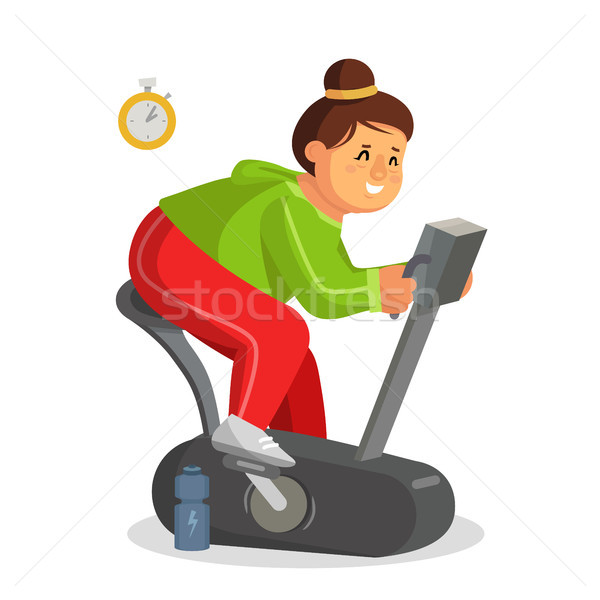 Fat Woman Working Out In Gym Vector. Training On Exercise Bike. Girl Working Out In Sweat. Young Obe Stock photo © pikepicture