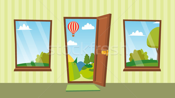 Opened Door And Windows Vector. Cartoon Flat Summer Landscape. Home Interior. Front View. Freedom Co Stock photo © pikepicture