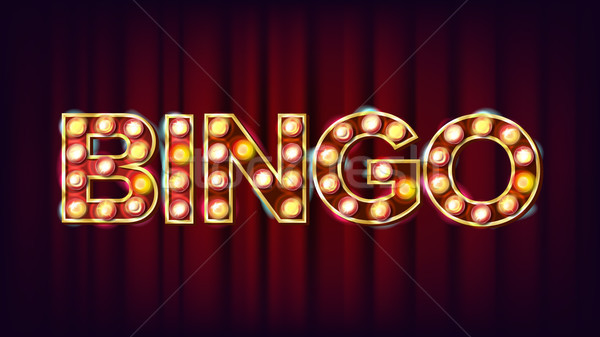 Bingo Banner Vector. Casino Glowing Lamps. For Fortune Advertising Design. Gambling Illustration Stock photo © pikepicture