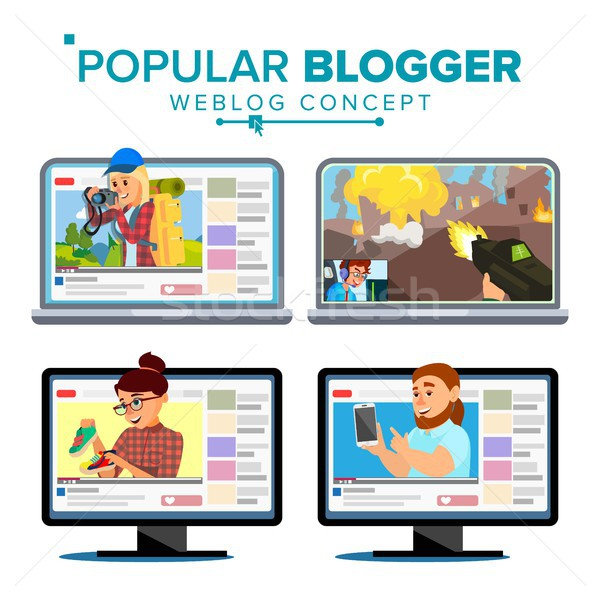 Video Streamer Set Vector. Personal Weblog Channel. Blogosphere Online. Popular Videobloggers. Isola Stock photo © pikepicture