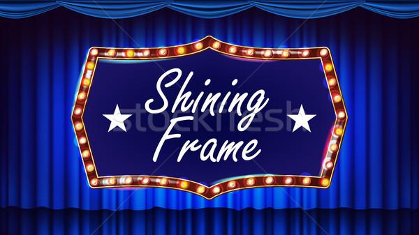 Ouro quadro lâmpadas vetor azul teatro Foto stock © pikepicture