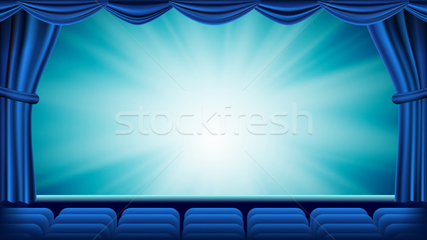Blue Theater Curtain Vector. Theater, Opera Or Cinema Empty Silk Stage, Red Scene. Blue Background.  Stock photo © pikepicture