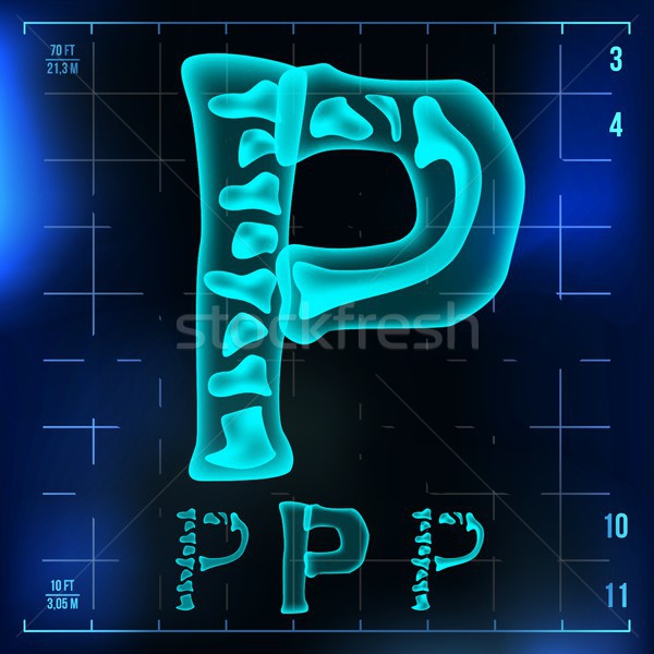 P Letter Vector. Capital Digit. Roentgen X-ray Font Light Sign. Medical Radiology Neon Scan Effect.  Stock photo © pikepicture