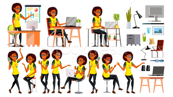 Business African Black Woman Character Vector. In Action. Office. IT Business Company. Working Elega Stock photo © pikepicture