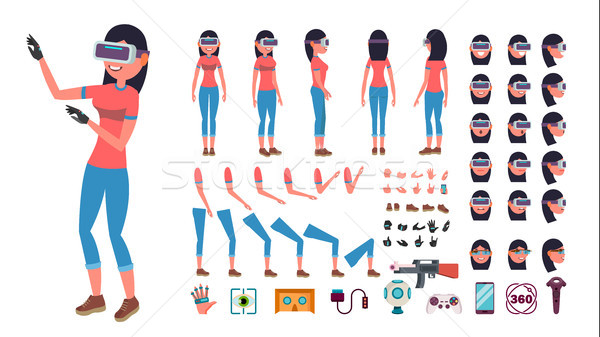 Woman In Virtual Reality Headset Vector. Animated Character Creation Set. 3D VR Glasses. Full Length Stock photo © pikepicture