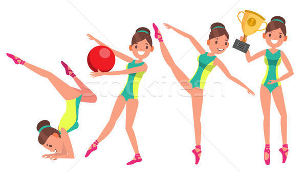 Gymnastics Female Player Vector. Gymnastic Tape, Hoop, Mace. Slim. Dance. In Action. Cartoon Charact Stock photo © pikepicture