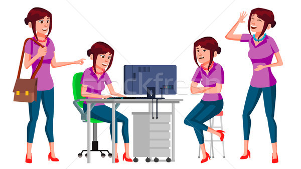 Office Worker Vector. Woman. Business Person. Face Emotions, Gestures. Flat Cartoon Illustration Stock photo © pikepicture