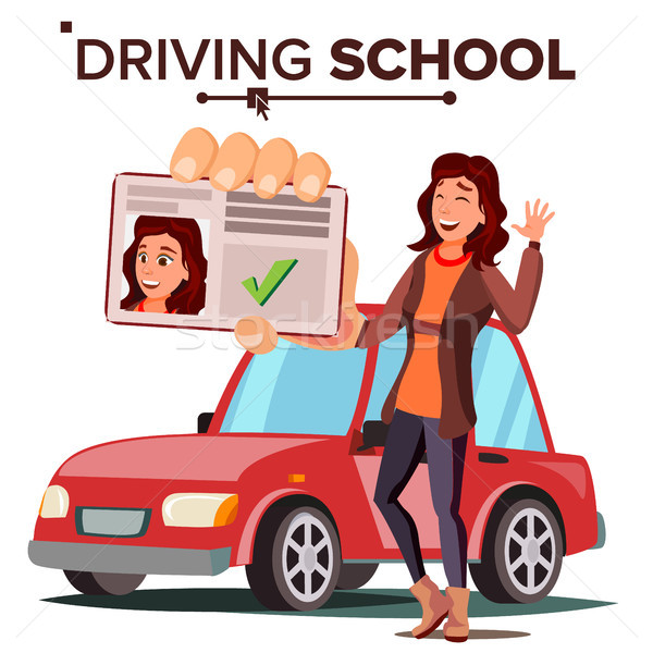 Woman In Driving School Vector. Training Car. Successful Pass Exam. Driving License. Isolated Flat I Stock photo © pikepicture