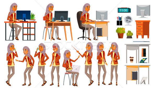 Arab Woman Set Office Worker Vector. Woman. Hijab. Ghutra. Arab, Muslim. Poses. Face Emotions, Vario Stock photo © pikepicture