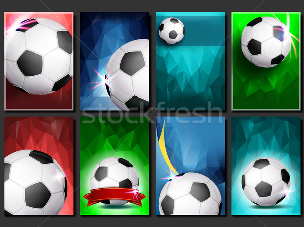 Soccer Game Poster Set Vector. Empty Template For Design. Modern Soccer Tournament. Promotion. Footb Stock photo © pikepicture