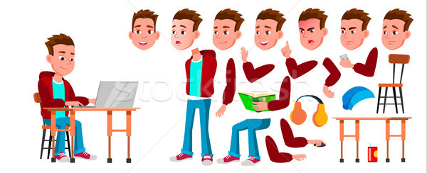 Boy Schoolboy Kid Vector. High School Child. Animation Creation Set. Face Emotions, Gestures. Child  Stock photo © pikepicture
