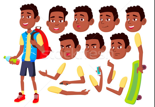 Boy, Child, Kid, Teen Vector. Happy Childhood. Afro American, Black. Face Emotions, Various Gestures Stock photo © pikepicture