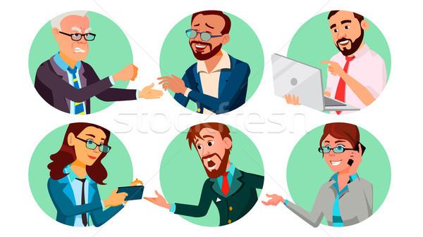 деловые люди дыра вектора поведение изолированный Cartoon Сток-фото © pikepicture