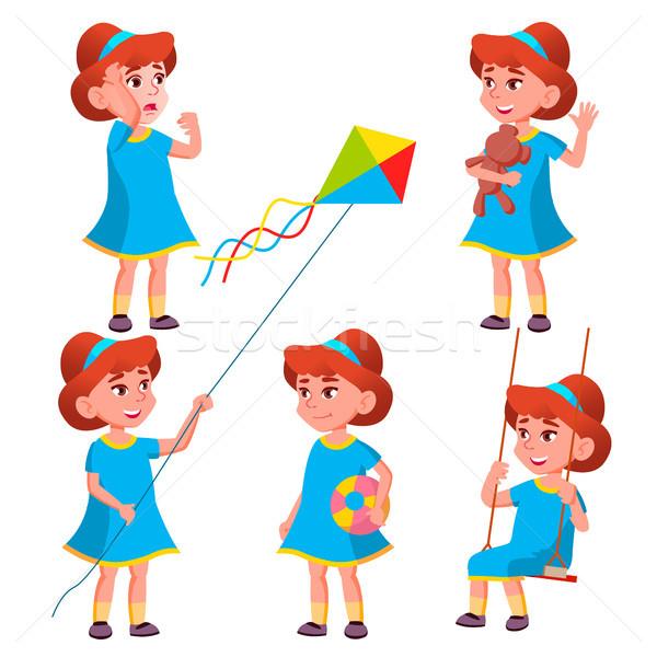 Meisje kleuterschool kid ingesteld vector karakter Stockfoto © pikepicture