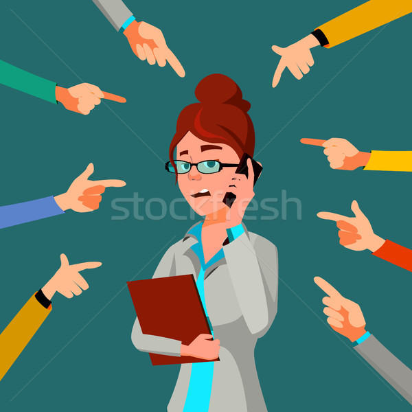 Victim Business Woman Vector. Public Censure. Scapegoat. Bullying Worker. Hands Pointing Finger. Ill Stock photo © pikepicture