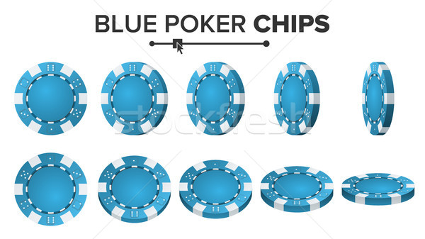 Blue Poker Chips Vector. 3D Realistic. Round Poker Game Chips Sign Isolated On White. Flip Different Stock photo © pikepicture