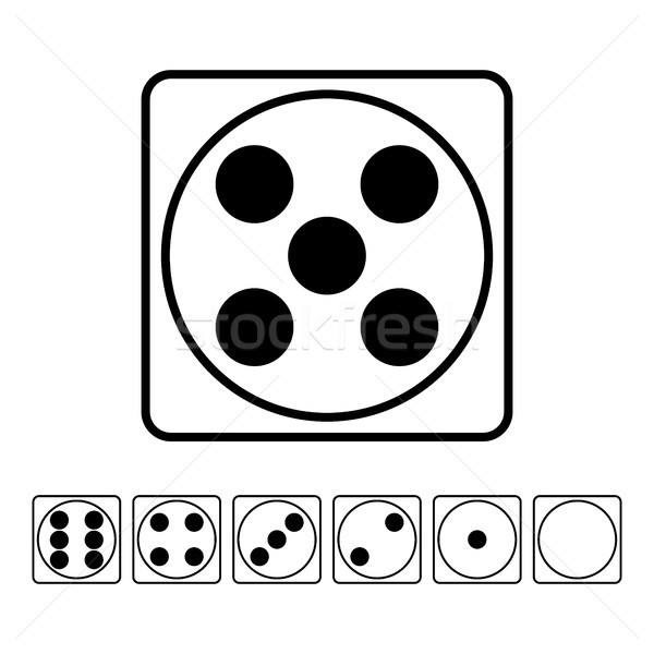 Playing Dice Flat Icons Vector Set. For Playing Board Casino Game. Isolated On White Stock photo © pikepicture
