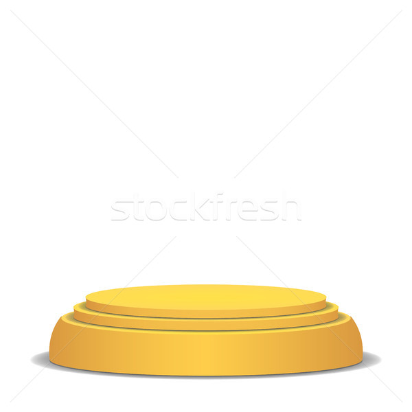 Empty Vector Podium. Isolated On White Background. Yellow 3D Stage. Realistic Platform. Round Pedest Stock photo © pikepicture