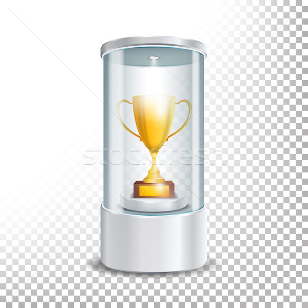 Stock photo: Transparent Glass Museum Showcase Podium With Golden Cup, Spotlight And Sparks. Mock Up Capsule Box