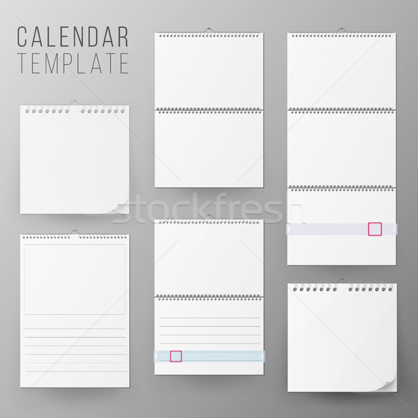 Calendar Template Set Vector. Realistic Stock photo © pikepicture