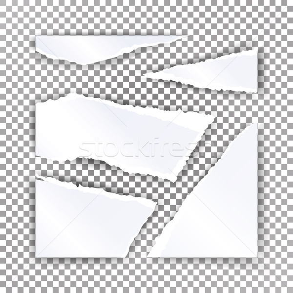 Torn Paper Blank Vector. Realistic Scraps Of Papers With Shadow. Material Design Illustration Stock photo © pikepicture