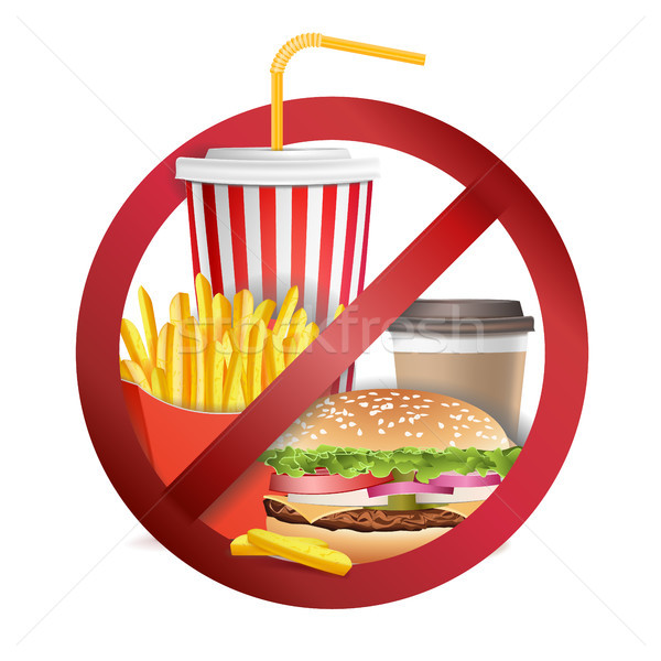 Stop gyorsételek vektor nem étel italok Stock fotó © pikepicture