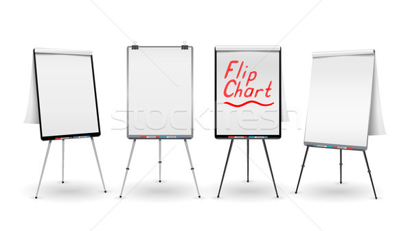 Flip Chart Set Vector. Office Whiteboard For Business Training. Blank Sheet Of Paper On a Tripod. Pr Stock photo © pikepicture