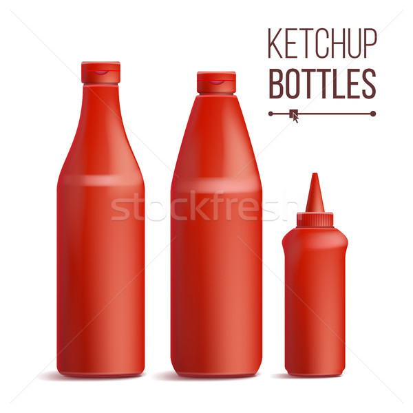 Tomato Ketchup Bottle Set Vector. 3D Realistic Blank. Plastic Red Tomato, Sauce Bottles. Mock Up Goo Stock photo © pikepicture