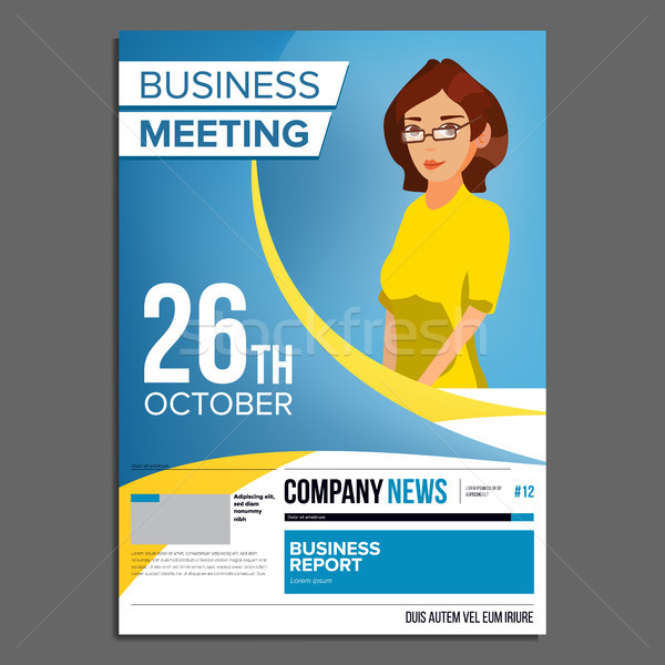 Business Meeting Poster Vector. Business Woman. Invitation For Conference, Forum, Brainstorming. Cov Stock photo © pikepicture