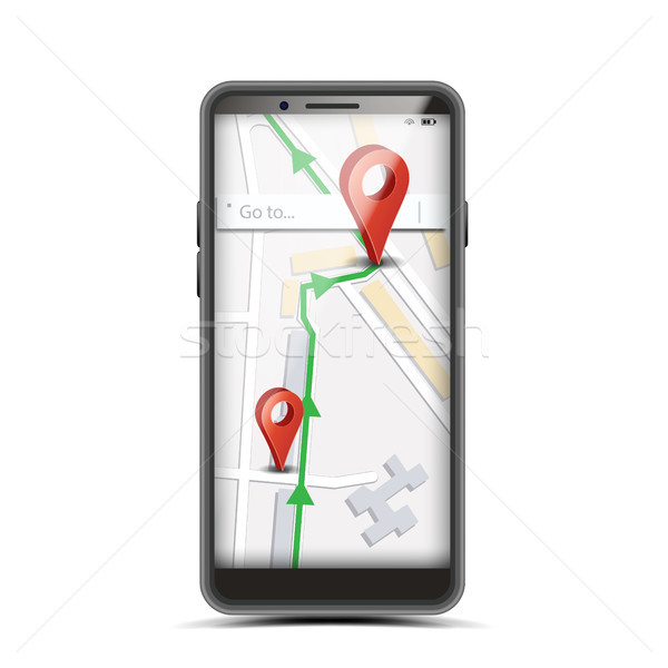 GPS App Concept Vector. Smartphone With Wireless Navigator Map Internet Web Application On Screen. I Stock photo © pikepicture
